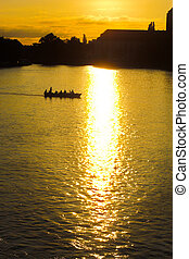boats on the river - Boats on the river at sunset in...