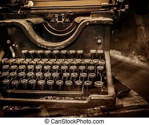 Enferrujado, antigas, Máquina escrever