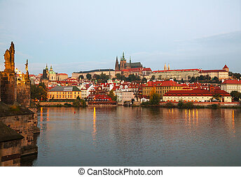Overview of old Prague from Charles bridge side