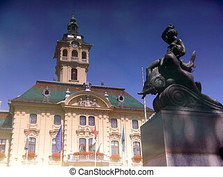 Town Hall of Szeged - Mirror of the Town Hall in Szeged,...
