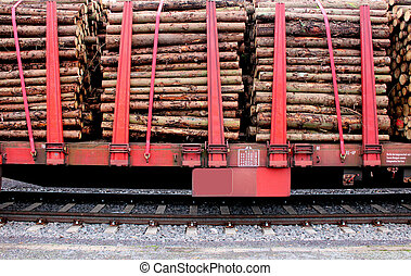 Biomass on train wagon - Biomass wood loaded on a red train...