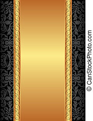 gold and black background with ornaments