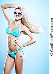in bikini - Portrait of a romantic young woman in bikini...