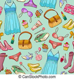 girlish pattern - seamless pattern with girlish items