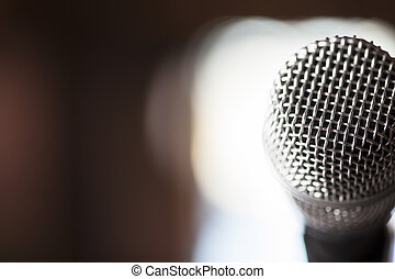 Close Up Microphone Background - A macro shot of a silver...
