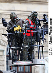 Two biological cleaning soldiers - Two soldiers from a...
