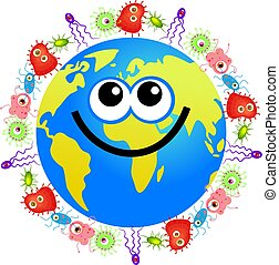 bacteria globe - Happy cartoon world globe surrounded by...