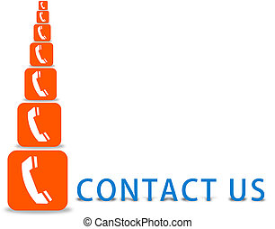 contact us sign - contact us text with phone logo