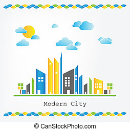 Modern city landscape with sun and clouds