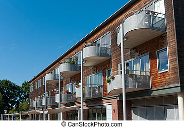 modern apartments with balconies
