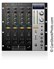 4 Channel Stage DJ Music Mixer detailed vector