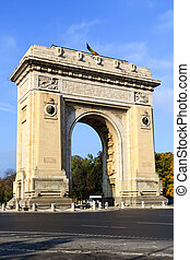 Bucharest arch of triumph - Bucharests arch of triumph on a...