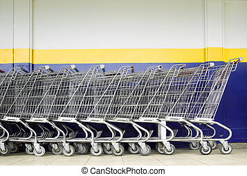 Line of Shopping Carts - Line of old style shopping carts...