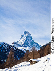 Matterhorn mountain of zermatt switzerland. Winter in swiss...