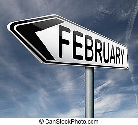 february month road sign