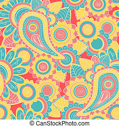 Seamless paisley pattern Hand drawn background