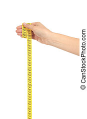 Beautiful woman hand holding a measure tape
