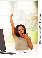 african american woman yawning - young african american...