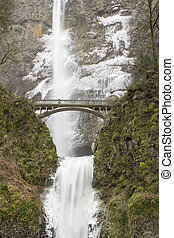 Bridge Along Hiking Trails at Multnomah Falls in Columbia...