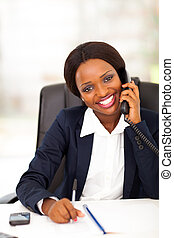 african american office worker - happy african american...