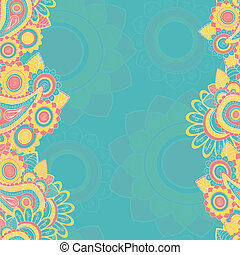 Seamless paisley pattern border. Hand drawn illustration