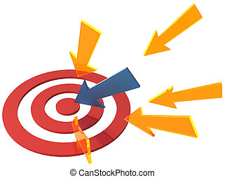 Arrow directions point at target bullseye - Targeted...