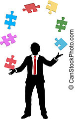 Business man juggling puzzle pieces problems