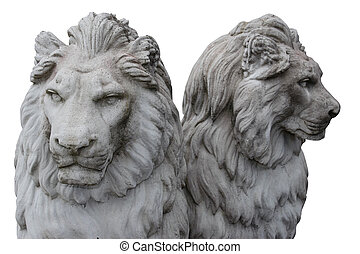 two lions sculptures depicting two heads are better than one...
