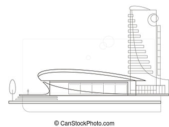 Modern architecture drawing - The drawing of a modern...