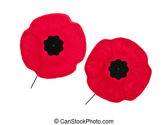 Remembrance Day poppies - Two red poppy lapel pins for...