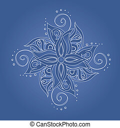 Abstract floral pattern. Stylized flower against blue...
