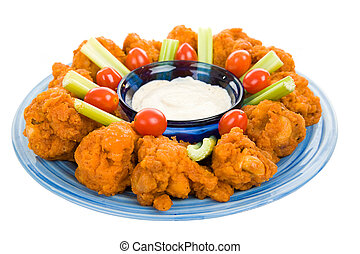 Spicy Chicken Wing Platter - Spicy buffalo wings on platter...
