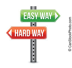 Easy way, hard way illustration design over a white...