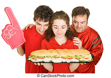 Hungry Partiers with Sandwich