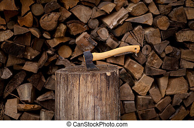 firewood with ax
