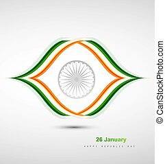 Indian Flag design with stylish wave vector