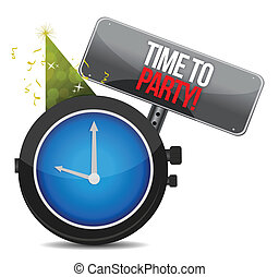 White clock with words Time to Party illustration design...