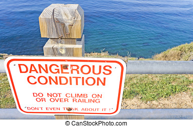 peligroso, borde, condición, acantilado
