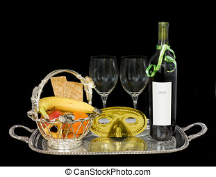 Purim silver gift basket, wine,mask - A custom for the...