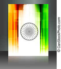 Indian flag brochure tricolor reflection vector background