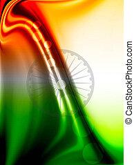 Fantastic colorful indian flag wave vector design art