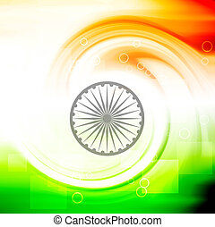 creative indian flag swirl circle wave vector background