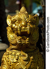 Thai dragon gold statue Selective focus