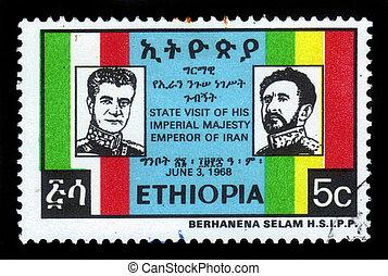 emperor Haile Selassie and shah of Iran Mohammad Reza...