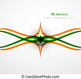 Stylish Indian flag colorful background with creative wave Vector