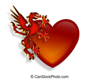 Heart and Dragon 3D graphic - 3D Illustration of legendary...