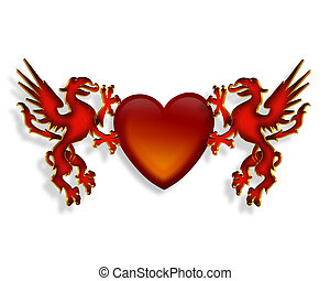 Heart and Dragons 3D graphic - 3D Illustration of legendary...
