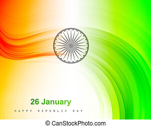 stylish indian flag wave vector
