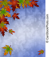 Autumn Fall Leaves and sky Border - Illustration composition...