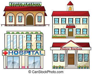Um, trem, estação, escola, polícia,...